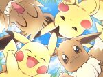 :< black_eyes blush brown_eyes closed_eyes closed_mouth clouds commentary_request day eevee from_below gen_1_pokemon gotcha! grass nagi_(exsit00) no_humans open_mouth outdoors pikachu pokemon pokemon_(creature) sky smile