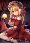 1girl adapted_costume back_bow bare_shoulders bed blonde_hair blush bobby_socks bow breasts canopy_bed chair character_doll commentary_request crystal doll dress fang flandre_scarlet foot_out_of_frame furrowed_eyebrows gradient hat hat_ribbon head_tilt highres holding holding_doll indoors lamp looking_at_viewer mob_cap on_bed one_side_up open_mouth pillow pointy_ears red_bow red_dress red_eyes red_ribbon remilia_scarlet ribbon short_hair sitting skin_fang small_breasts socks solo table torottye touhou wariza white_headwear wings wrist_cuffs