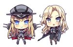 2girls akikaze_tsumuji belt bismarck_(kantai_collection) black_belt black_jacket black_legwear black_neckwear black_skirt blonde_hair blue_eyes bomber_jacket breastplate cannon chibi detached_sleeves dress_shirt flight_deck full_body grey_eyes gun gun_case hat hornet_(kantai_collection) jacket kantai_collection long_hair looking_at_viewer machinery military military_hat military_uniform multiple_girls necktie pantyhose peaked_cap pencil_skirt rifle shirt simple_background skirt standing thigh-highs uniform weapon white_background white_shirt