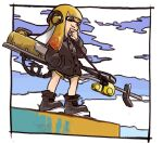 1girl ankle_boots black_coat black_shorts boots buttons clouds coat domino_mask e-liter_4k_(splatoon) grin hand_in_pocket hand_to_own_mouth hand_up headphones inkling long_hair long_sleeves mask nishikuromori orange_eyes orange_hair outdoors paint pocket shorts smile solo splatoon_(series) splatoon_2 standing tentacle_hair
