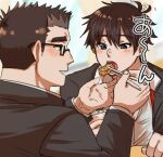 2boys bangs black_hair black_jacket blush brown_eyes brown_hair chopsticks feeding gakuran glasses highres hiota_(kuhi_0301) jacket long_sleeves looking_at_another male_focus master_4_(tokyo_houkago_summoners) multiple_boys open_clothes open_jacket open_mouth open_shirt partially_unbuttoned school_uniform shiro_(tokyo_houkago_summoners) short_hair smile thick_eyebrows tokyo_houkago_summoners translation_request upper_body