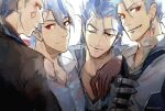 4boys alternate_costume beads blue_hair collar collared_shirt cu_chulainn_(fate)_(all) cu_chulainn_(fate/grand_order) cu_chulainn_(fate/prototype) cu_chulainn_alter_(fate/grand_order) dark_persona earrings facepaint fate/grand_order fate/prototype fate/stay_night fate_(series) grin hair_beads hair_ornament hakusaihatake highres jewelry lancer long_hair looking_at_viewer male_focus multiple_boys multiple_persona one_eye_closed ponytail popped_collar red_eyes shirt short_hair smile spiky_hair the_musketeers_(fate/grand_order) type-moon