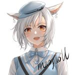 1girl :d animal_ears artist_name bangs blue_bow blue_headwear blush bow cabbie_hat cat_ears collared_shirt commentary_request dress_shirt ear_piercing eyebrows_visible_through_hair final_fantasy final_fantasy_xiv hair_between_eyes hat looking_at_viewer maoyao-ll mini_hat miqo'te open_mouth orange_eyes piercing school_uniform shirt short_hair signature simple_background smile solo sweater_vest upper_body upper_teeth whisker_markings white_background white_hair white_shirt