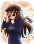 1girl alternate_costume black_headwear blue_sweater breasts brown_eyes brown_hair casual earrings eyebrows_visible_through_hair finger_to_mouth hat highres hololive insein jewelry medium_breasts ribbed_sweater smile solo star_(symbol) star_earrings sunglasses sweater tokino_sora virtual_youtuber