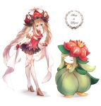 1girl black_skirt blue_eyes boots byuura_(sonofelice) character_name crossover fate/grand_order fate_(series) frilled_hat frills gen_5_pokemon gloves hat holding holding_ribbon knee_boots large_hat lilligant long_hair marie_antoinette_(fate/grand_order) pokemon pokemon_(creature) red_gloves red_headwear ribbon silver_hair skirt twintails very_long_hair white_background white_footwear white_ribbon