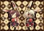 2girls :d animal_ears apple armor blush brown_hair chibi closed_eyes club_(shape) diamond_(shape) food fruit furry grey_fur heart mononofu_(sekaiju) multiple_girls open_mouth pote_(ptkan) red_eyes romaji_text sekaiju_no_meikyuu sekaiju_no_meikyuu_4 smile spade_(shape) wavy_mouth white_hair