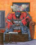 1boy alex_milne autobot blue_eyes commission controller couch english_commentary game_controller highres holding holding_controller holding_game_controller insignia mecha no_humans optimus_prime playing_games sitting smoke solo the_transformers_(idw) traditional_media transformers