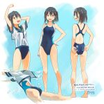 1girl adjusting_clothes adjusting_swimsuit barefoot black_hair blue_sailor_collar blue_swimsuit breasts brown_eyes commentary_request competition_swimsuit highres kantai_collection kusakabe_(kusakabeworks) looking_at_viewer multicolored multicolored_clothes multicolored_swimsuit multiple_views one-piece_swimsuit sailor_collar sailor_shirt sendai_(kantai_collection) shirt short_hair small_breasts standing swimsuit swimsuit_under_clothes translation_request two_side_up white_shirt