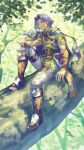 1boy absurdres anbe_yoshirou animal_on_arm armor bird bird_on_arm boots brown_eyes cape closed_mouth clothing_request commentary_request grey_pants hawkeye_(seiken_densetsu_3) highres in_tree jewelry leaf looking_at_viewer male_focus nature outdoors pants ponytail purple_hair ring seiken_densetsu seiken_densetsu_3 signature sitting sitting_in_tree smile solo tree tree_branch