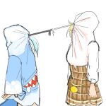 2girls adapted_costume bbbbungle blonde_hair blue_hair clenched_hand covered_face drawstring drawstring_pull english_commentary from_side gawr_gura hololive hololive_english hood hoodie multiple_girls open_hand plaid plaid_skirt skirt standing tail virtual_youtuber watson_amelia white_background