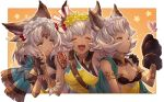 3girls animal_ears armlet backless_outfit between_breasts blush bored bracelet breasts bug butterfly closed_eyes dark_skin erune facial_mark felluca flower forehead_mark gloves granblue_fantasy green_eyes green_hair hair_flower hair_leaf hair_ornament hand_on_another's_shoulder happy highres insect jewelry long_hair melleau multiple_girls nemone nervous notice_lines official_art open_mouth parted_lips paw_gloves paws short_hair siblings single_glove sisters small_breasts strap_between_breasts tattoo upper_body