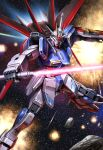 asteroid beam_saber blue_eyes explosion flying glowing glowing_eyes gundam gundam_seed gundam_seed_destiny highres holding holding_sword holding_weapon impulse_gundam looking_down lotz mecha mechanical_wings no_humans open_hand shield solo space sword v-fin weapon wings