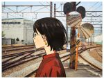 1girl black_eyes black_hair earrings glasses jewelry original outdoors photo_background railroad_crossing railroad_signal railroad_tracks red_shirt round_eyewear shirt short_hair solo tomoke