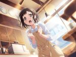 bang_dream! blush brown_eyes brown_hair hazawa_tsugumi shirt short_hair
