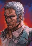 1boy blue_eyes closed_mouth curly_hair dark_skin dark_skinned_male forehead_jewel formal grey_suit hungry_clicker looking_at_viewer male_focus manly muscle red_eyes shirt sideburns simple_background solo street_fighter street_fighter_v suit upper_body urien white_hair white_shirt
