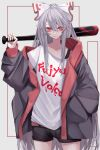 absurdres alternate_costume baggy_clothes bangs baseball_bat black_shorts blood blood_stain bow clothes_writing commentary_request contemporary cowboy_shot english_text fall_dommmmmer fujiwara_no_mokou grey_background grey_hair grey_jacket hand_in_pocket hand_up highres holding jacket light_frown long_hair long_sleeves looking_at_viewer off_shoulder red_eyes shirt shorts t-shirt touhou very_long_hair white_bow white_shirt