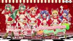 6+girls antlers blonde_hair christmas furude_rika green_eyes green_hair hanyuu higurashi_no_naku_koro_ni houjou_satoko midriff_peek multiple_girls navel orange_eyes orange_hair purple_hair roller_skates ryuuguu_rena skates skirt sonozaki_mion sonozaki_shion violet_eyes