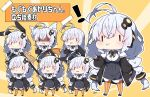 ! 1girl :t animal_ear_fluff animal_ears antenna_hair black_jacket blush braid breasts chibi closed_mouth commentary_request dress food grey_dress hair_ornament highres holding holding_food jacket kemonomimi_mode kizuna_akari large_breasts long_hair long_sleeves low_twintails milkpanda multiple_views open_clothes open_jacket orange_legwear pantyhose parted_lips pocky puffy_cheeks puffy_long_sleeves puffy_sleeves rabbit_ears shirt silver_hair sleeves_past_wrists standing star_(symbol) striped striped_legwear translation_request twin_braids twintails vertical-striped_legwear vertical_stripes very_long_hair voiceroid wavy_mouth white_shirt