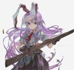 1girl animal_ears artist_name bangs black_skirt blouse brown_gloves bunny_tail closed_mouth collared_blouse commentary_request cowboy_shot floating_hair gloves grey_background gun highres holding holding_gun holding_weapon light_purple_hair long_hair looking_at_viewer medium_skirt necktie rabbit_ears red_eyes red_neckwear reisen_udongein_inaba reloading rifle shell_casing shihou_(g-o-s) short_sleeves sidelocks simple_background skirt solo tail touhou very_long_hair weapon weapon_request white_blouse wing_collar