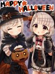 2girls absurdres bandages black_gloves bloomers braid brown_eyes candy cape closed_eyes drawer earrings english_text eyebrows_visible_through_hair fang food gloves green_hair grin halloween halloween_bucket halloween_costume hat highres hisakawa_hayate hisakawa_nagi idolmaster idolmaster_cinderella_girls jack-o'-lantern jewelry long_hair looking_at_viewer multiple_girls open_mouth siblings sidelocks silver_hair simple_background single_braid smile standing thighs trick_or_treat twins twintails underwear white_hair witch_hat yata_(yatao_zzz)
