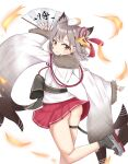 1girl absurdres animal_ears animal_on_head ass azur_lane brown_eyes extra_ears eyebrows_visible_through_hair fan fur_trim grey_hair hamster highres holding holding_fan ink_stain looking_at_viewer looking_back miniskirt on_head pleated_skirt red_skirt rudder_footwear shiroino_(gtwo5024) short_hair simple_background skirt solo suzutsuki_(azur_lane) white_background wide_sleeves