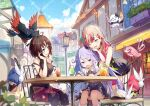 3girls ahoge behind_back bird black_hair blush brat breasts chair clouds commentary_request copyright_request drink fangs hat long_hair multiple_girls official_art one_eye_closed open_mouth orange_hair purple_hair short_hair sky table virtual_youtuber