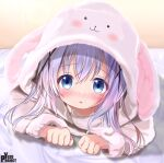 1girl animal_ears animal_hood artist_name bangs bathrobe bed_sheet blue_eyes blush breasts bunny_hood child clenched_hands commentary eyebrows_visible_through_hair fake_animal_ears gochuumon_wa_usagi_desu_ka? hood kafuu_chino long_hair looking_at_viewer loungewear lying nose_blush on_bed on_stomach open_mouth purple_hair rabbit_ears robe small_breasts solo yuzu_project
