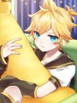 1boy angry arm_warmers banana bass_clef black_collar blonde_hair blue_eyes collar commentary couch curtains food fruit headphones headset highres holding holding_food holding_fruit holding_toy indoors kagamine_len leg_warmers looking_at_viewer male_focus nail_polish pouty_lips sailor_collar school_uniform shirt short_ponytail short_sleeves sitting solo soramame_pikuto spiky_hair star_(symbol) star_ornament stuffed_toy toy v-shaped_eyebrows vocaloid white_shirt yellow_nails