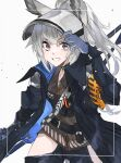 1girl adjusting_clothes adjusting_headwear animal_ears arknights armband bangs blue_coat blue_pants breasts brown_shirt coat flat_chest gauntlets gloves grani_(arknights) grey_eyes grey_hair grey_headwear grin hand_up highres hip_vent holding holding_spear holding_weapon horse_ears horse_girl long_hair looking_at_viewer multiple_straps open_clothes open_coat pants polearm ponytail popped_collar shirt shoulder_guard sideways_glance silver_hair small_breasts smile solo spear visor_cap weapon yakota_(usuk-yako)