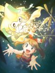 1girl :d arms_up bangs bare_arms bow_hairband brown_hair collarbone commentary_request eyebrows_visible_through_hair eyelashes from_above gen_3_pokemon glowing grass grey_eyes hairband jirachi may_(pokemon) mythical_pokemon nagi_(exsit00) night open_mouth outdoors pokemon pokemon_(creature) pokemon_(game) pokemon_oras red_hairband red_shirt shirt sleeveless sleeveless_shirt smile spread_fingers tongue torchic
