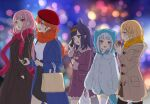 5girls animal_hood bag bangs beige_coat beret black_legwear black_skirt blonde_hair blue_coat blue_eyes blue_hoodie blunt_bangs blurry blurry_background bokeh carrying carrying_under_arm casual cellphone coat commentary depth_of_field dress drooling earphones earphones eating english_commentary fish_tail food gawr_gura hair_ornament hands_in_pockets hat holding holding_food holding_phone hololive hololive_english holomyth hood hoodie long_hair long_sleeves looking_at_another medium_hair monocle_hair_ornament mori_calliope multiple_girls night ninomae_ina'nis open_mouth orange_hair orange_scarf outdoors phone pink_hair pointy_ears purple_coat purple_hair red_eyes red_headwear red_scarf scarf shared_earphones shark_tail shirt shopping_bag skirt smartphone tail takanashi_kiara talking_on_phone ten-chan_(eternal_s) thigh-highs violet_eyes virtual_youtuber walking watson_amelia white_hair white_legwear white_shirt winter_clothes yellow_scarf