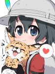 1girl animal backpack bag black_gloves black_hair blue_eyes blush cat close-up commentary_request eyebrows_visible_through_hair gloves hat_feather heart helmet highres holding holding_animal holding_cat kaban_(kemono_friends) kemono_friends pith_helmet ransusan red_shirt serval shirt short_hair short_sleeves solo spoken_heart t-shirt