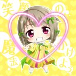 1girl background_text bangs blush brown_hair chibi commentary_request dress eyebrows_visible_through_hair full_body green_footwear grin head_tilt heart heart_background long_sleeves looking_at_viewer love_live! love_live!_nijigasaki_high_school_idol_club mutekikyuu_believer nakasu_kasumi pleated_dress puffy_long_sleeves puffy_sleeves shachoo. shoes short_hair shrugging smile socks solo standing translation_request violet_eyes white_legwear yellow_background yellow_dress