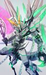 axe dragon energy_weapon glowing glowing_eye green_eyes gundam gundam_unicorn highres holding holding_axe kenko_(a143016) mecha mechanical_wings no_humans nt-d open_hand redesign science_fiction solo unicorn_gundam v-fin wings