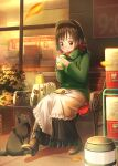 1girl abo_(kawatasyunnnosukesabu) alternate_costume apron autumn_leaves bag bench black_cat blush bob_cut boots brown_hair cat cat_bag coat coffee_cup convenience_store cup disposable_cup dress eating enmaided eyebrows_visible_through_hair gloves green_coat handbag high_heels highres long_dress looking_at_animal looking_down maid maid_apron maid_headdress open_mouth original outdoors plant red_gloves red_scarf scarf shop short_hair sitting solo winter_clothes winter_coat