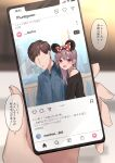 1boy 1girl bangs bare_shoulders blush bow brown_hair cellphone commentary_request faceless faceless_male hair_bow highres holding instagram kanju long_hair open_mouth original phone polka_dot polka_dot_bow red_bow short_hair smartphone smile speech_bubble translation_request