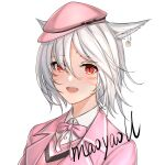 1girl :d animal_ears artist_name bangs blazer blush bow cabbie_hat cat_ears collared_shirt dress_shirt ear_piercing eyebrows_visible_through_hair eyes_visible_through_hair final_fantasy final_fantasy_xiv hair_between_eyes hair_over_one_eye hat jacket looking_at_viewer maoyao-ll mini_hat miqo'te open_blazer open_clothes open_jacket open_mouth piercing pink_bow pink_headwear pink_jacket red_eyes school_uniform shirt signature smile solo sweater_vest upper_body upper_teeth whisker_markings white_hair white_shirt