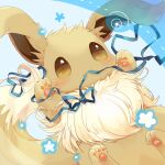 blue_ribbon blush brown_eyes brown_fur closed_mouth commentary_request creature eevee gen_1_pokemon heart highres mouth_hold no_humans paws pokemon pokemon_(creature) ribbon smile solo ushiina