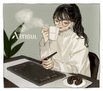 1girl artisul bangs black-framed_eyewear black_hair blush border closed_eyes coffee coffee_mug commentary_request company_name cup darico doughnut drawing_tablet fingernails food glasses grey_background hand_up highres holding holding_cup long_hair long_sleeves makeup mascara mole mole_under_eye mug nail_polish nostrils orange_eyeshadow orange_lips orange_nails original plant plate ponytail red_lips shirt signature sitting solo steam stylus sweater table turtleneck turtleneck_sweater white_border white_shirt yellow_eyeshadow