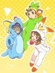 1girl 2boys :o ;d arm_up bangs blush clenched_teeth commentary_request cosplay dark_skin dark_skinned_male eyebrows_visible_through_hair eyelashes gen_8_pokemon gloria_(pokemon) gloves grookey grookey_(cosplay) holding holding_poke_ball hood hood_up hop_(pokemon) long_sleeves looking_at_viewer multiple_boys nagi_(exsit00) one_eye_closed open_mouth orange_gloves outline poke_ball poke_ball_(basic) pokemon pokemon_(game) pokemon_swsh scorbunny scorbunny_(cosplay) short_hair smile sobble sobble_(cosplay) teeth tongue victor_(pokemon) yellow_eyes