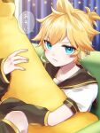 1boy angry arm_warmers banana bass_clef black_collar blonde_hair blue_eyes collar commentary couch curtains food fruit headphones headset highres holding holding_food holding_fruit holding_toy indoors kagamine_len leg_warmers looking_at_viewer male_focus nail_polish pouty_lips sailor_collar school_uniform shirt short_ponytail short_sleeves sitting solo soramame_pikuto speech_bubble spiky_hair star_(symbol) star_ornament stuffed_toy toy translated v-shaped_eyebrows vocaloid white_shirt yellow_nails