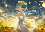 1girl :d absurdres ahoge arms_behind_back bangs blue_hair blunt_bangs bouquet clouds collarbone commentary dress eyebrows_visible_through_hair flower flower_wreath hair_blowing highres holding holding_bouquet huge_filesize ia_ju72 jewelry long_hair looking_at_viewer necklace open_mouth original petals sidelocks sky smile solo sunset tearing_up tears twintails upper_teeth white_dress yellow_eyes yellow_flower