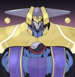 1boy armor closed_mouth gradient gradient_background hazanko helmet male_focus ngra201 outlaw_star pauldrons red_eyes shoulder_armor sleeves_past_fingers sleeves_past_wrists solo upper_body yin_yang