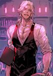 1boy black_vest chair collarbone collared_shirt commentary_request cowboy_shot dante_(devil_may_cry) devil_may_cry devil_may_cry_5 dress_shirt facial_hair grey_eyes grin highres indoors light looking_at_viewer male_focus ogata_tomio partially_unbuttoned pectorals shirt short_hair sketch sleeves_rolled_up smile solo standing stubble vest white_hair white_shirt