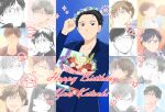 1boy black_hair blue-framed_eyewear blue_flower blue_rose bouquet brown_eyes character_name daisy dated flower gift glasses hair_slicked_back happy_birthday head_wreath heart highres katsuki_yuuri makkachin male_focus red_flower red_rose rose sparkle takeshi_(mononohu20) viktor_nikiforov yellow_flower yellow_rose yuri!!!_on_ice