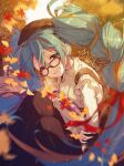 1girl alternate_costume aqua_hair autumn_leaves beret bespectacled black_skirt blue_eyes book brown_hair brown_headwear clenched_teeth glasses hair_ornament hair_ribbon hat hatsune_miku highres holding holding_book leaf long_hair long_sleeves looking_at_viewer manle multicolored_hair purple_ribbon red-framed_eyewear red_ribbon ribbon skirt smile solo sweater teeth twintails two-tone_hair very_long_hair vocaloid white_sweater x_hair_ornament