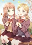 2girls arms_up autumn_leaves bangs black_legwear blonde_hair blue_sky blue_sweater blurry bokeh bow bowtie brown_eyes brown_jacket brown_skirt commentary day depth_of_field dress_shirt eyebrows_visible_through_hair feet_out_of_frame finger_to_another's_cheek food food_on_face holding holding_food jacket kneehighs knees_together light_blush long_hair looking_at_another looking_at_viewer medium_hair multiple_girls open_clothes open_jacket open_mouth original outdoors parted_bangs pink_hair school_uniform shirt sitting skirt sky smile striped striped_neckwear sweater taiyaki tan_sweater tree untucked_shirt unya_(unya-unya) upper_teeth violet_eyes wagashi white_shirt wooden_bench