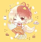 23_(candy_chapus) adapted_costume animal_on_head anna_miller apron bird bird_on_head bird_tail bird_wings blonde_hair blush cake chibi chick coffee coffee_beans coffee_mug commentary_request cup egg feathered_wings food full_body hamburger hand_on_hip heart_button highres looking_at_viewer mug multicolored_hair neck_ribbon niwatari_kutaka on_head one_eye_closed open_mouth orange_apron orange_footwear orange_skirt outstretched_arm pie_slice red_eyes red_neckwear redhead ribbon shirt shoes short_hair short_sleeves simple_background skirt smile star_(symbol) touhou two-tone_hair waitress white_shirt wings yellow_background