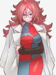 1girl android_21 blue_eyes breasts checkered checkered_dress dragon_ball dragon_ball_fighterz dress earrings glasses hoop_earrings jewelry kemachiku labcoat long_hair looking_at_viewer medium_breasts red_ribbon_army redhead simple_background solo