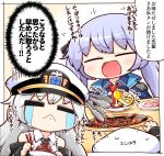 2girls :< :d =_= afterimage azur_lane bangs beef black_coat black_neckwear black_ribbon blue_cloak blue_dress blue_hair blush braid chopsticks cloak coat collared_cloak collared_dress collared_shirt commentary_request crying dress eating enterprise_(azur_lane) essex_(azur_lane) eyebrows_visible_through_hair fire food french_braid fruit gloves grill grilling hair_ribbon hat holding holding_chopsticks holding_plate kado_(hametunoasioto) lemon long_hair meat military_hat motion_lines multiple_girls necktie off-shoulder_coat open_clothes open_coat open_mouth partially_fingerless_gloves peaked_cap plate red_neckwear ribbon shirt silver_hair simple_background sitting sleeveless sleeveless_shirt smile smoke speech_bubble streaming_tears sweatdrop table tears thought_bubble tongs translation_request twintails upper_body very_long_hair white_background white_headwear white_shirt yakiniku